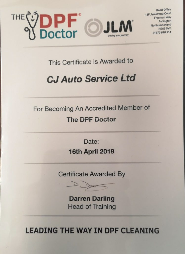 DPF Cleaning Warrington Certificate