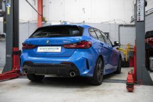 Blue BMW in for Service